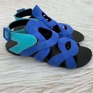 Giuseppe Zanotti blue suede flat sandal gladiator